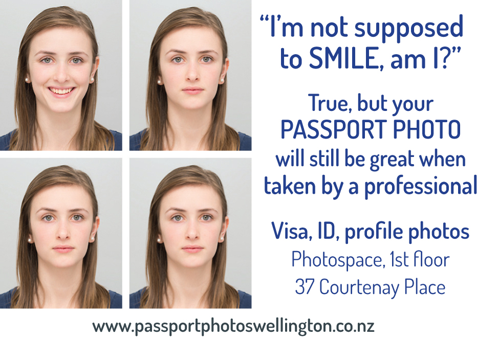 New print ad for passport photos, James Gilberd Photography, Photospace, 37 Coutenay Place, Wellington, new Zealand