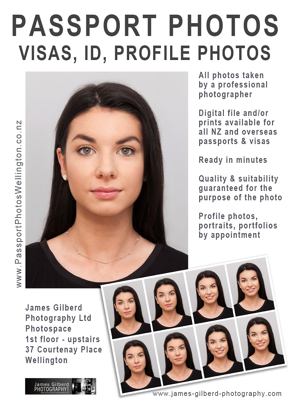 Picturepassport photos, visas, ID photos, profile photographs, headshots, photospace, 37 Courtenay Place, Wellington, James Gilberd Photography