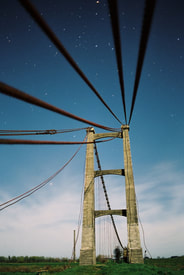 Old bridge at Opiki, Manawatu, photo on 35mm film under moonlight by James Gilberd, Photospace